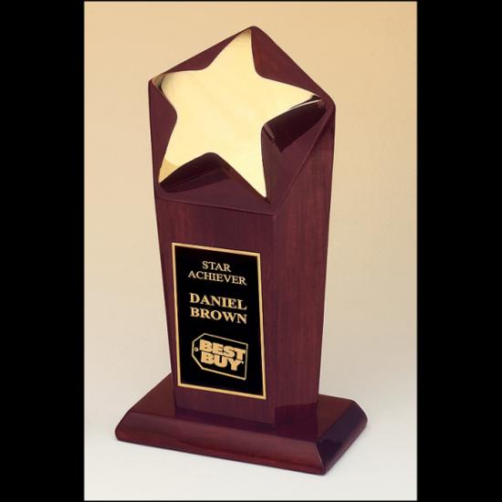 Polished metal goldtone star casting trophy