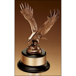 Fully modeled antique bronze eagle casting on a black wood base