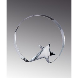 Circle with Star Base Crystal  Award