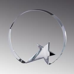 Circle with Star Base Crystal  Award