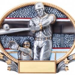 "Resin Oval Plates 8.25"" x 7""Baseball Trophy"