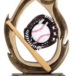 Flame Resin Sculpture Baseball Trophy