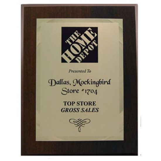 Solid walnut  plaque with double plates.