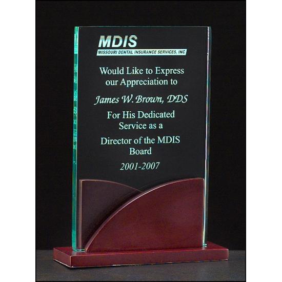 "Premium Series3/8"" thick acrylic award on a mahogany finish base"