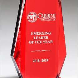 Clear Acrylic Award with Red Mirror Background on Red Mirror-Topped Base