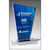 Peak Series Clear Acrylic with Printed Blue Background and Silver Mirror-Topped Base