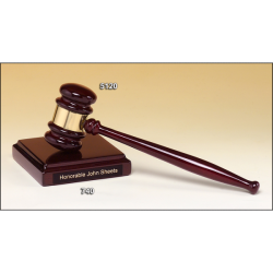 Rosewood stained piano finished gavel with brass band and sounding block with felt bottom