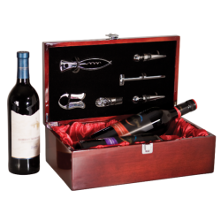 ROSEWOOD PIANO FINISH WINE BOX WITH TOOLS