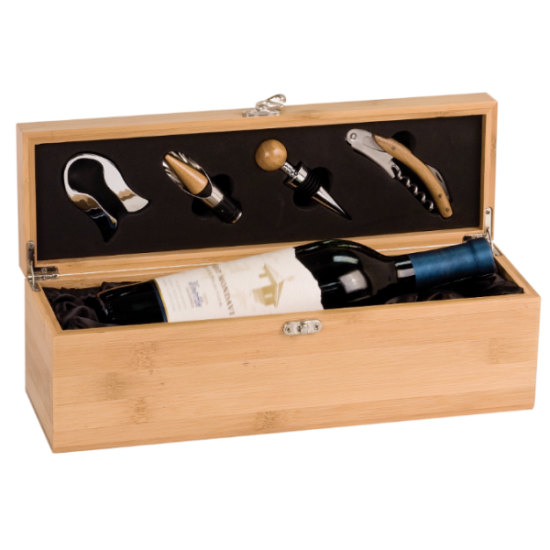 GENUINE BAMBOO SINGLE WINE BOX WITH TOOLS