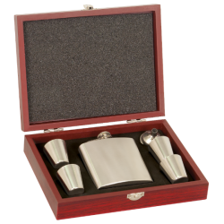 ROSEWOOD FINISH BLACK FLASK SET