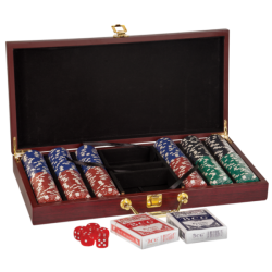 ROSEWOOD FINISH POKER SET