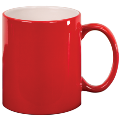 11 OZ RED ROUND LASERMUGS