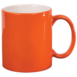 11 OZ ORANGE ROUND LASERMUGS