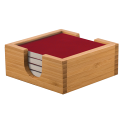 4 RED CERAMIC COASTERS W/BAMBOO HOLDER