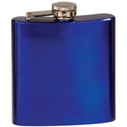 6 OZ GLOSS BLUE STAINLESS STEEL FLASK