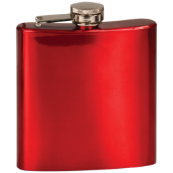 6 OZ GLOSS RED STAINLESS STEEL FLASK