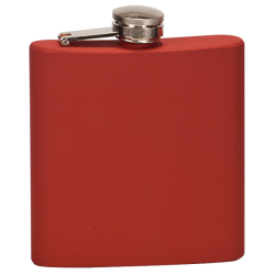 6 OZ MATTE RED STAINLESS STEEL FLASK