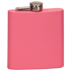 6 OZ MATTE PINK STAINLESS STEEL FLASK