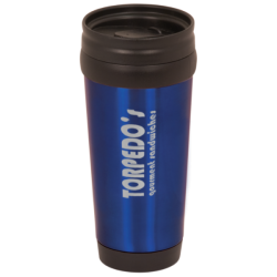 14 OZ BLUE STAINLESS TRAVEL MUG WITHOUT HANDLE