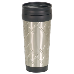 14 OZ SILVER DIAMOND PLATE TRAVEL MUG