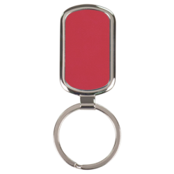 RED RECTANGLE LASERABLE METAL KEYCHAIN