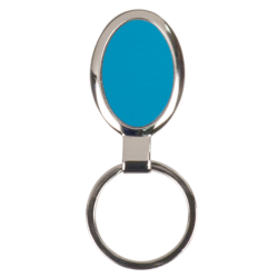 BLUE OVAL LASERABLE METAL KEYCHAIN