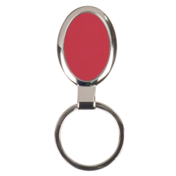 RED OVAL LASERABLE METAL KEYCHAIN