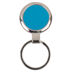 BLUE ROUND LASERABLE METAL KEYCHAIN