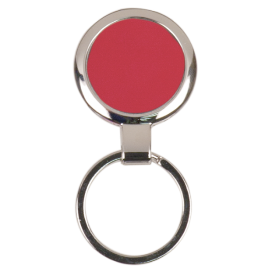 RED ROUND LASERABLE METAL KEYCHAIN