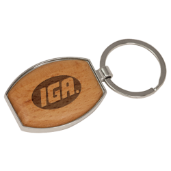 OVAL SILVER/WOOD KEY CHAIN