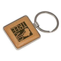 SQUARE SILVER/WOOD KEY CHAINS