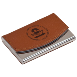 METAL/LEATHER BUSINESS CARD HOLDER