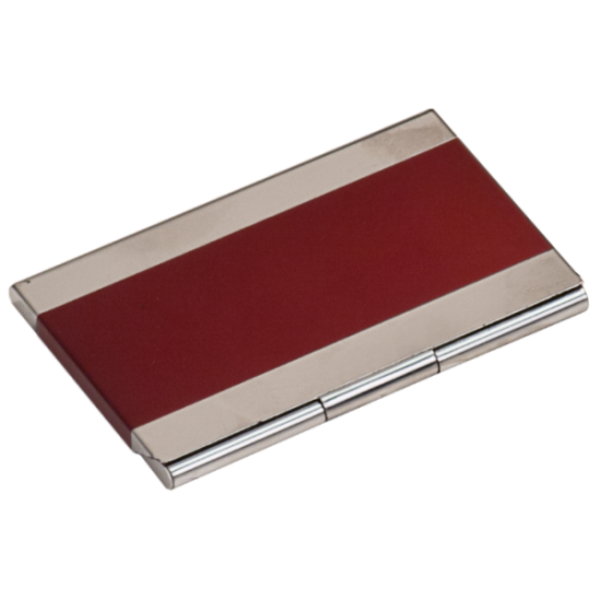 RED/SILVER BUSINESS CARD HOLDER