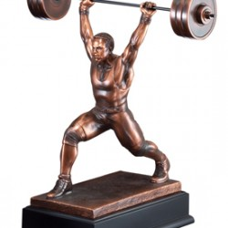 Resin Sculpture Weight Lifter Trophy