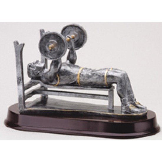 Resin Sculpture Male Weight Lifter Bench Trophy