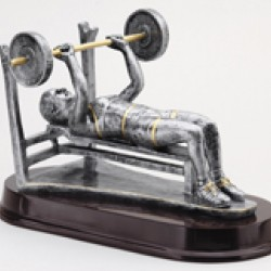 Resin Sculpture Female Weight Lifter Bench Trophy