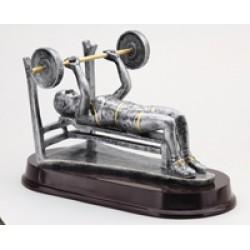 Resin Sculpture Female Weight Lifter Bench Trophy