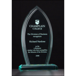 "Flame Series 3/4"" thick polished acrylic award on acrylic base"