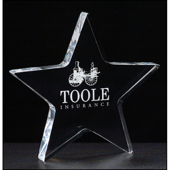 """Star Paperweight in 3/4"""" thick clear acrylic"""