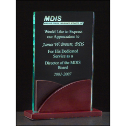"Premium Series 3/8"" thick acrylic award on a mahogany finish base"