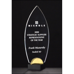 """Flame Series 3/8"""" thick acrylic award on black and gold metal base."""