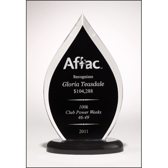 Flame Series clear acrylic award with black silk screened back