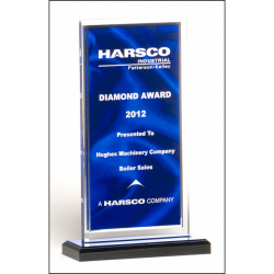 Clear acrylic award with dark blue draped satin pattern and silver mirror border on a black acrylic base with blue mirror top