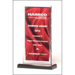 Clear acrylic award with deep red draped satin pattern and silver mirror border on a black acrylic base with red mirror top