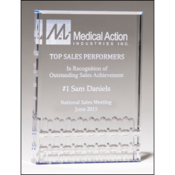 Classic Series freestanding clear acrylic award with blue highlights