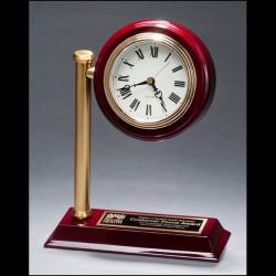 Rail station style desk clock on rosewood finish high gloss base