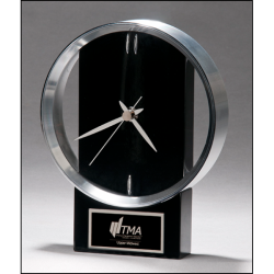 Modern Design Clock brushed silver bezel on black high gloss base