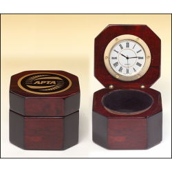 Rosewood piano-finish desktop clock with velour lined storage area