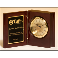 High gloss rosewood piano-finish book clock with diamond-spun dial and three hand movement