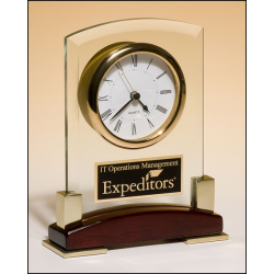 Beveled glass desktop clock, rosewood piano-finish base with gold metal accents